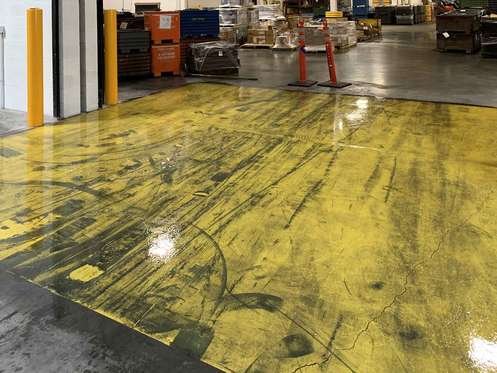 Warehouse Floor Markings Before Repainting